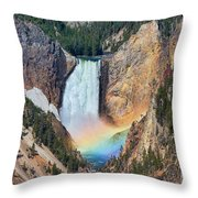 Rainbow On The Lower Falls Yellowstone National Park Throw Pillow