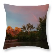 Rainbow Over Cathedral Rocks Throw Pillow