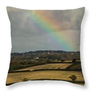 Rainbow Over Fields Throw Pillow