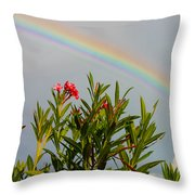 Rainbow Over Flower Throw Pillow