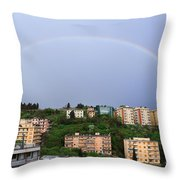 rainbow over Genova Throw Pillow