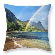 Rainbow Over Haena Beach Throw Pillow