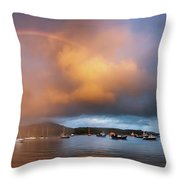 Rainbow Over Harbor At Sunset, Portree Throw Pillow