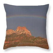 Rainbow Over Mt Johnson Throw Pillow