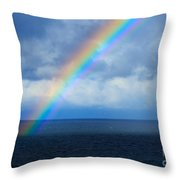 Rainbow Over The Atlantic Ocean Throw Pillow
