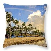 Rainbow Over The Beach Throw Pillow