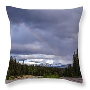 Rainbow Over The Mountains Throw Pillow