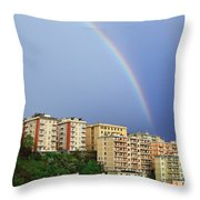 Rainbow Over The Town Throw Pillow