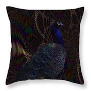 Rainbow Peacock Fractal Throw Pillow