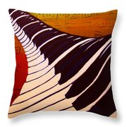 Rainbow Piano Keyboard Twist In Acrylic Paint With Sheet Music Notes In Blue Yellow Orange Red Throw Pillow