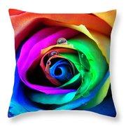 Rainbow Rose Throw Pillow by Juergen Weiss