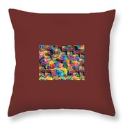 Rainbow Roses Throw Pillow