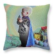 Rainbow Sherbet Little Ninja Boy Throw Pillow