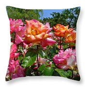 Rainbow Sorbet Roses Throw Pillow by Denise Mazzocco