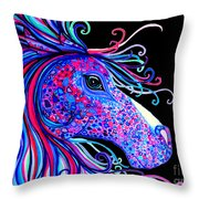 Rainbow Spotted Horse2 Throw Pillow