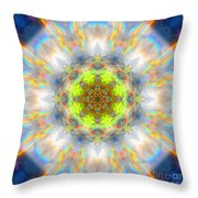 Rainbow Starburst Mandala Throw Pillow