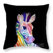 Rainbow Striped Zebra 2 Throw Pillow