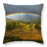 Rainbow Through The Forest Throw Pillow