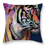 Rainbow Tiger Throw Pillow