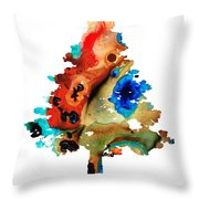 Rainbow Tree 2 - Colorful Abstract Tree Landscape Art Throw Pillow by Sharon Cummings