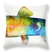 Rainbow Trout Art By Sharon Cummings Throw Pillow