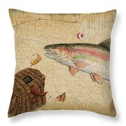 Rainbow Trout-basket Weave Throw Pillow