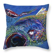 Rainbow Trout Detail B Throw Pillow