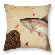 Rainbow Trout Throw Pillow by Jean Plout