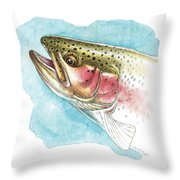 Rainbow Trout Study Throw Pillow