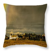 Rainbow Over The Tower Throw Pillow
