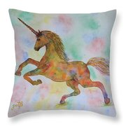 Rainbow Unicorn In My Garden Original Watercolor Painting Throw Pillow