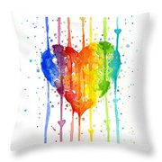 Rainbow Watercolor Heart Throw Pillow