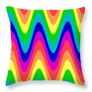 Rainbow Waves Throw Pillow