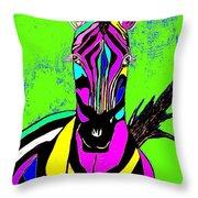 Rainbow Zebra 2 Abstract Throw Pillow