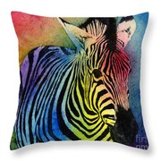 Rainbow Zebra Throw Pillow by Hailey E Herrera