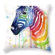 Rainbow Zebra - Ode To Fruit Stripes Throw Pillow