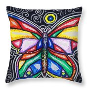 Rainbows And Butterflies Throw Pillow
