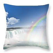 Rainbows At Niagara Falls Throw Pillow