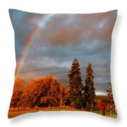 Rainbow's End At Rainbow Falls Throw Pillow