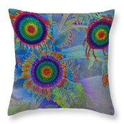 Rainbows In Flowers  Throw Pillow