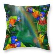 Rainbows In Paradise Throw Pillow