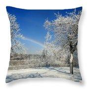 Rainbows Of Ice Throw Pillow