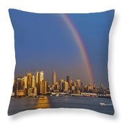 Rainbows Over The New York City Skyline Throw Pillow by Susan Candelario