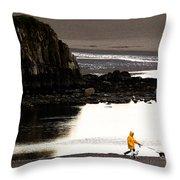 Raincoat Dog Walk Throw Pillow by John Daly