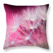 Raindrops On Dandelion Magenta Throw Pillow