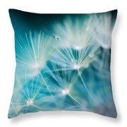 Raindrops On Dandelion Sea Blue Throw Pillow