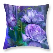 Raindrops On Lavender Roses Throw Pillow