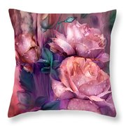Raindrops On Peach Roses Throw Pillow