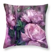 Raindrops On Pink Roses Throw Pillow