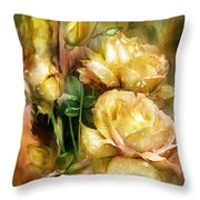 Raindrops On Yellow Roses Throw Pillow